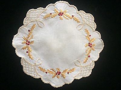 Antique Christmas Silk Hand Embroidered Holly Society Doily