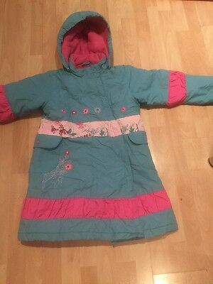 Girls Padded Winter Jacket Age 6 Detachable Hood Stunning Rare