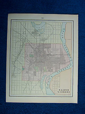 Original 1901 Crams Maps of Council Bluffs and Sioux City, USA.