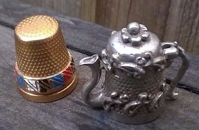 Two Collectable Metal Thimbles Teapot