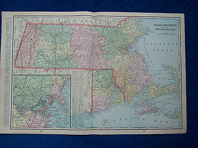 Original 1901 Crams Maps of Massachusetts & Rhode Island and New Jersey.