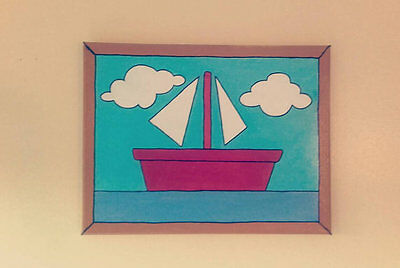 Replica 'A scene from Moby Dick' Boat Painting from above The Simpsons Couch