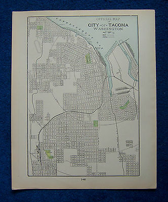 Original 1901 Crams Maps of Tacoma, Washington, and Sacramento, California, USA.