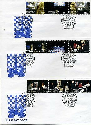 CHess Kyrgyzstan 2000 set of 3 FDC