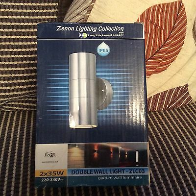 Outdoor Up & Down / Double Wall Light Brushed Chrome  Effect IP65 NEW