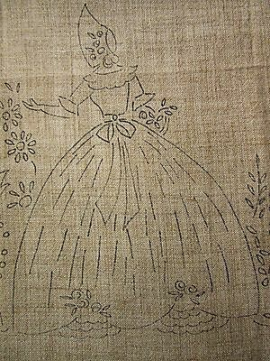 1950's CRINOLINE LADY PRINTED CANVAS to EMBROIDER - Perfect Cushion Front CRAFTS