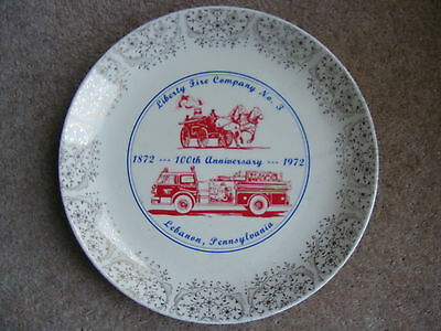 Fire Brigade Liberty Fire Company no3 - 1972 centenary  china plate Labanon USA