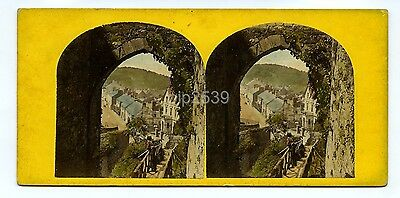 Conway From The Castle Wales - c1860s Hand Tinted Stereoview