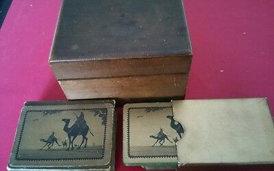 Antique playing card wooden storage box with one pack of vintage cards