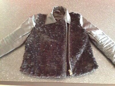 Girls Black Leather Look Jacket With Fur 4-5 Years