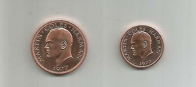 Lundy Puffin Coins   Half and One Puffin  1977