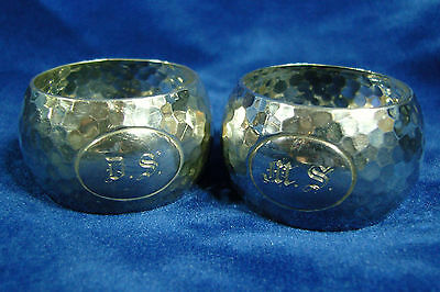 Pair of Hammered Solid silver Napkin rings - Sheffield 1928