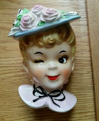 Vintage Winking Blonde lady head vase 5 inches tall PRICE DROP