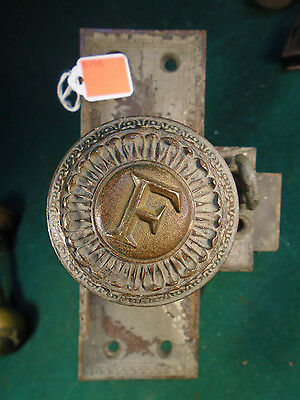 RARE HEAVY DOOR KNOB SET from FRICK BUILDING in PITTSBURGH 1901   (6796)