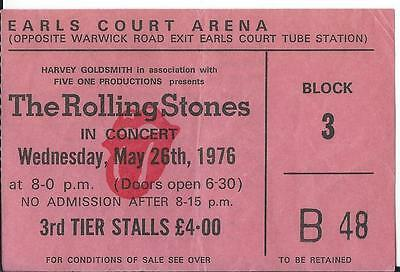 THE ROLLING STONES used ticket - EARLS COURT ARENA - Wednesday, May 26th, 1976