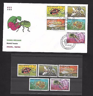 Turkey 1982 Harmful Insects  FDC and  Mint Never Hinged set