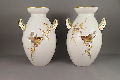Worcester (Grainger) Pair of G437 Vases with Birds on Gilded Branches - 1892