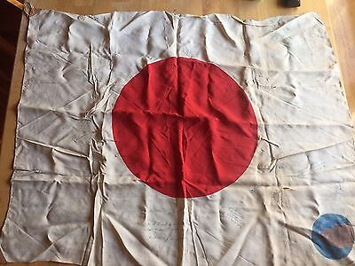 """WWII Japanese Flag 34"""" x 27"""" , Signed By US GI's"""