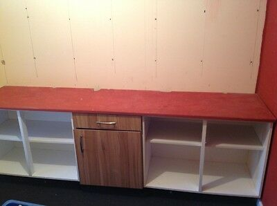 work bench and cupboards