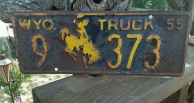 Rustic  Vintage 1955  Big Horn County(9)  Wyoming Truck License Plate #373