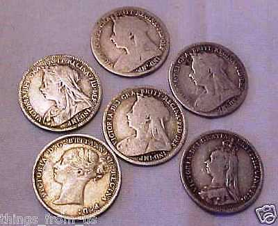 Group Of Six British Victorian Sterling Silver Threepence Coins = 1886+92+94+98+