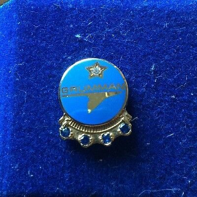 Grumman 10K Gold With 1 Diamond & 4 Sapphires 20Years Service Pin