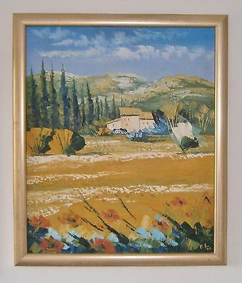 """Large Modernist Oil Painting Of A """"tuscan Farmhouse"""" - Signed"""