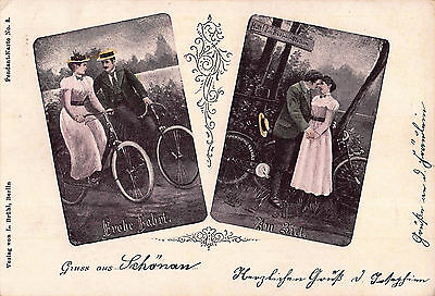 1899 Victorian German Bicycle/cycle Gruss Aus Postcard ~ Romantic Cyclists