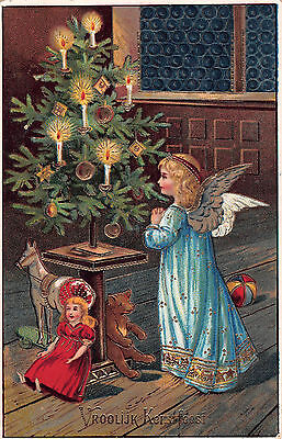 EARLY 1900s EMBOSSED CHRISTMAS GREETING CARD~WINGED ANGEL GIRL, TOYS & XMAS TREE