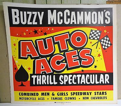 Vintage BUZZY McCAMMON'S AUTO ACES THRILL SPECTACTULAR Stunt Show Sign Poster