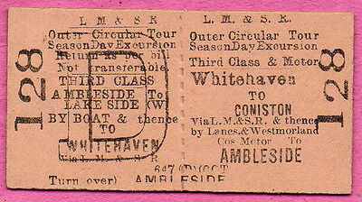 LMS Ry Ed card ticket WHITEHAVEN to CONISTON & AMBLESIDE. Train, road, boat tour