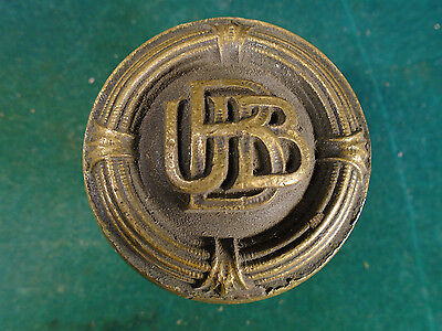 RARE HEAVY BRASS DOOR KNOB SET from UBB BUILDING or BUB or BBU?? BUILDING (6790)