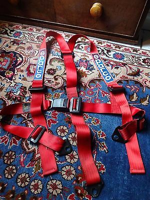 Sparco Torino - 3 Point - Buckle Harness - Red - Set of Two