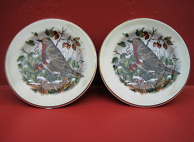 2 x MINIATURE ROYAL WORCESTER PALISSY DISHES WINTER SCENE WITH ROBINS