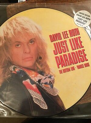 """David Lee Roth Just Like Paradise12"""" Vinyl Picture Disc Near Mint"""