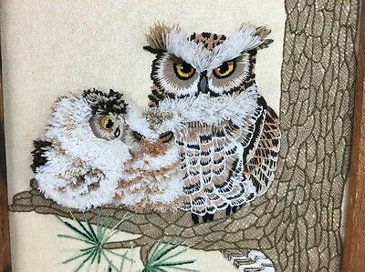 Owl Vintage Mid Century Modern Fiber Textile Art Framed Signed Dated Wall Art 69
