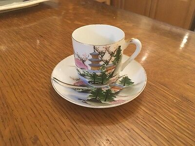 Kutani Japanese Handpainted Porcelain Cup And Saucer