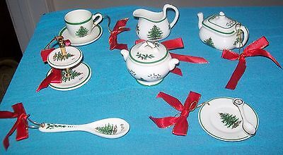 7 Lot Spode Ceramic Miniature  Dinnerware Christmas Tree Ornaments