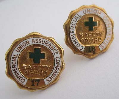 Commercial Union Assurance Companies Safety Award Pins Badges Numbers 16 and 17