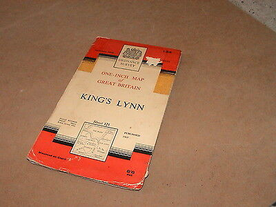 Vintage Cloth King's Lynn Ordnance Survey 1963   Map 1 inch to 1 mile  Sheet 124