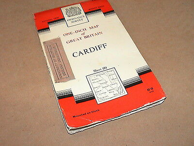 Vintage Cloth Cardiff 1966 Ordnance Survey  Map 1 inch to 1 mile   Sheet 154