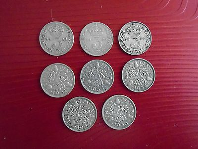 silver threepence coins x8 , George V