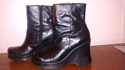 Mens gothic wedge platform boots, size 8 (EU42), black, 4in heel, square toe