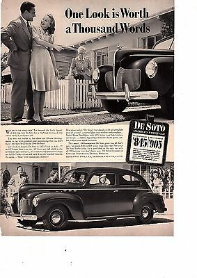 1940 DeSoto Sedan Automobile  One Look Is Worth A Thousand Words Ad