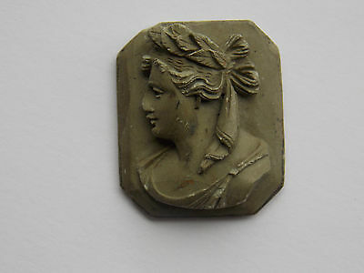 Victorian era lava cameo plaque with carved high relief image of a Roman woman