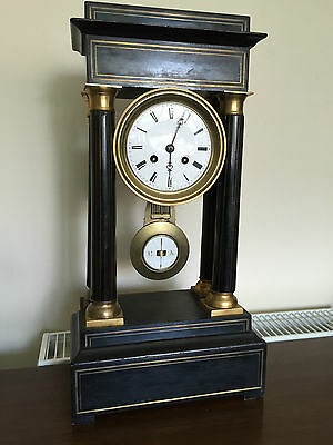 Antique French Ebonised Portico Clock