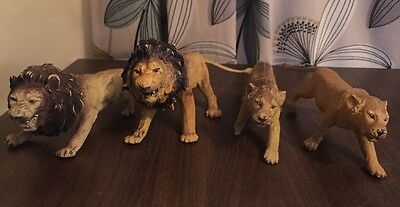 Rare X4 Lion Lioness Animal Figure Set Toy Xmas Stocking Filler Zoo King