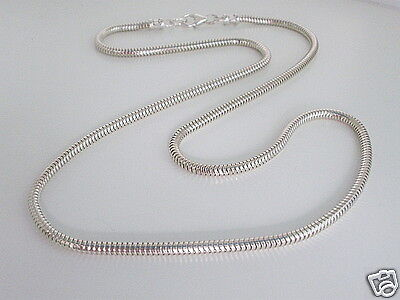 """Womens or Mens 3mm Snake Chain Necklace, Solid 925 Sterling Silver 22"""" Gift Box"""