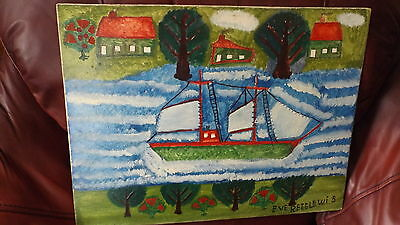 Lewis Folk Art Painting Clipper Ship Waterfront Digby NS Christmas Gift Blue gem