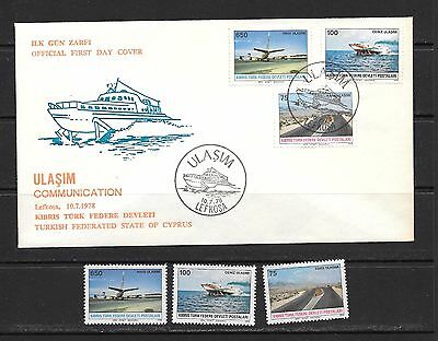 Turkey Kibris Cyprus 1978 Communication FDC and Mint Never Hinged set